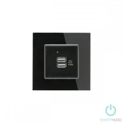 Egyes Fekete Üvegkeretes Dupla USB Csatlakozó