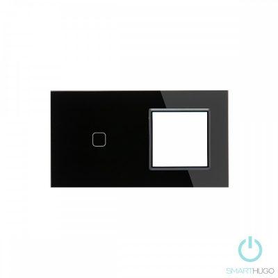 Dupla sorolt Fekete Érintőpanel 1 Kör + Üvegkeret