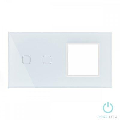 Dupla Sorolt Fehér Érintőpanel 2 Kör + Üvegkeret