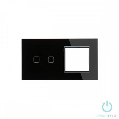Dupla Sorolt Fekete Érintőpanel 2 Kör + Üvegkeret