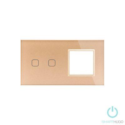 Dupla Sorolt Arany Érintőpanel 2 Kör + Üvegkeret