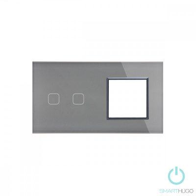 Dupla Sorolt Szürke Érintőpanel 2 Kör + Üvegkeret