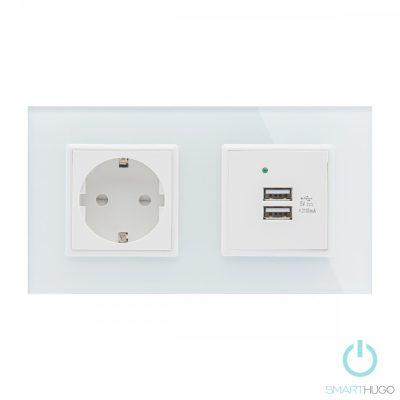 Dupla Sorolt Fehér Üvegkeretes Konnektor + Dupla USB Csatlakozó