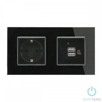Dupla Sorolt Fekete Üvegkeretes Konnektor + Dupla USB Csatlakozó