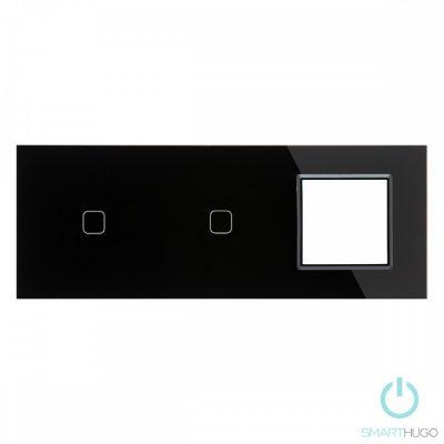 Hármas sorolt Fekete Érintőpanel 1 + 1 kör + Üvegkeret