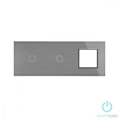 Hármas Sorolt Szürke Érintőpanel 1 + 1 kör + Üvegkeret