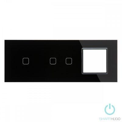 Hármas sorolt Fekete Érintőpanel 1 + 2 kör + Üvegkeret