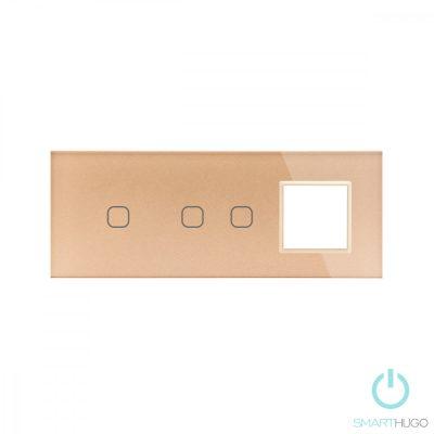Hármas sorolt Arany Érintőpanel 1 + 2 kör + Üvegkeret