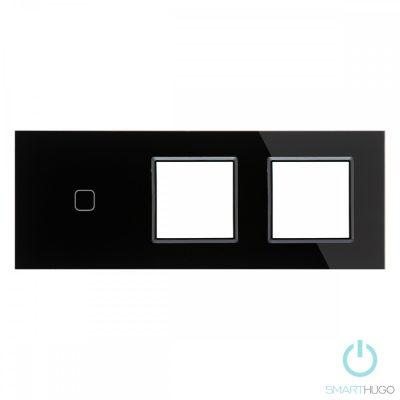 Hármas sorolt Fekete Érintőpanel  1 kör + Dupla Üveg Sorolókeret