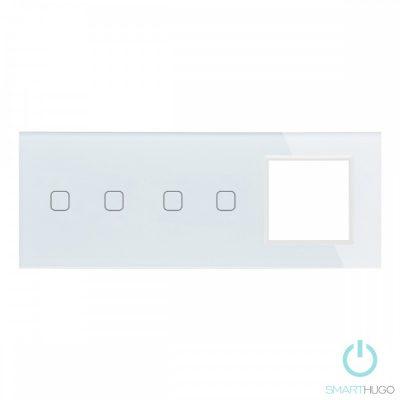 Hármas sorolt Fehér Érintőpanel 2 + 2 kör + üvegkeret
