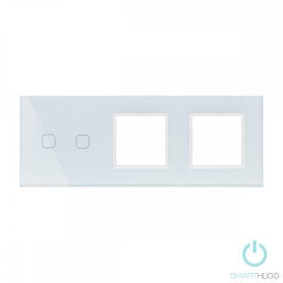 Hármas sorolt Fehér Érintőpanel  2 kör + Dupla Üveg Sorolókeret