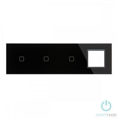 Négyes sorolt Fekete Érintőpanel 1 + 1 + 1 kör + Üvegkeret