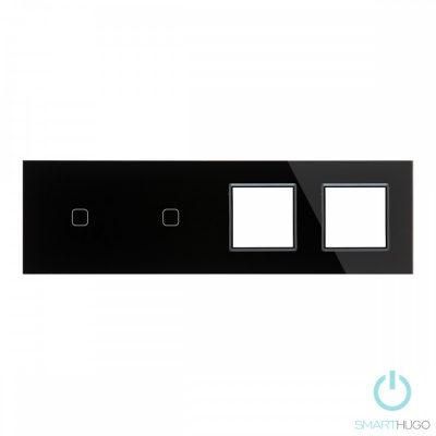 Négyes sorolt Fekete Érintőpanel 1 + 1 kör + Dupla Üveg Sorolókeret