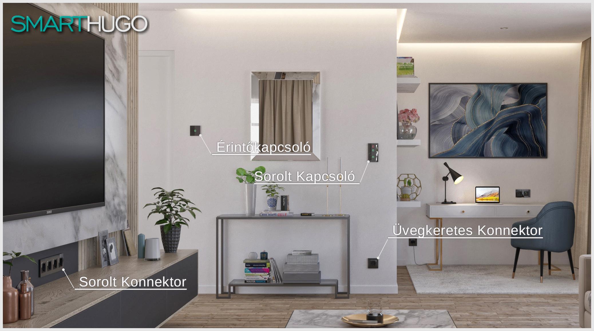 Smarthugo villanykapcsolók és konnektorok a nappaliban