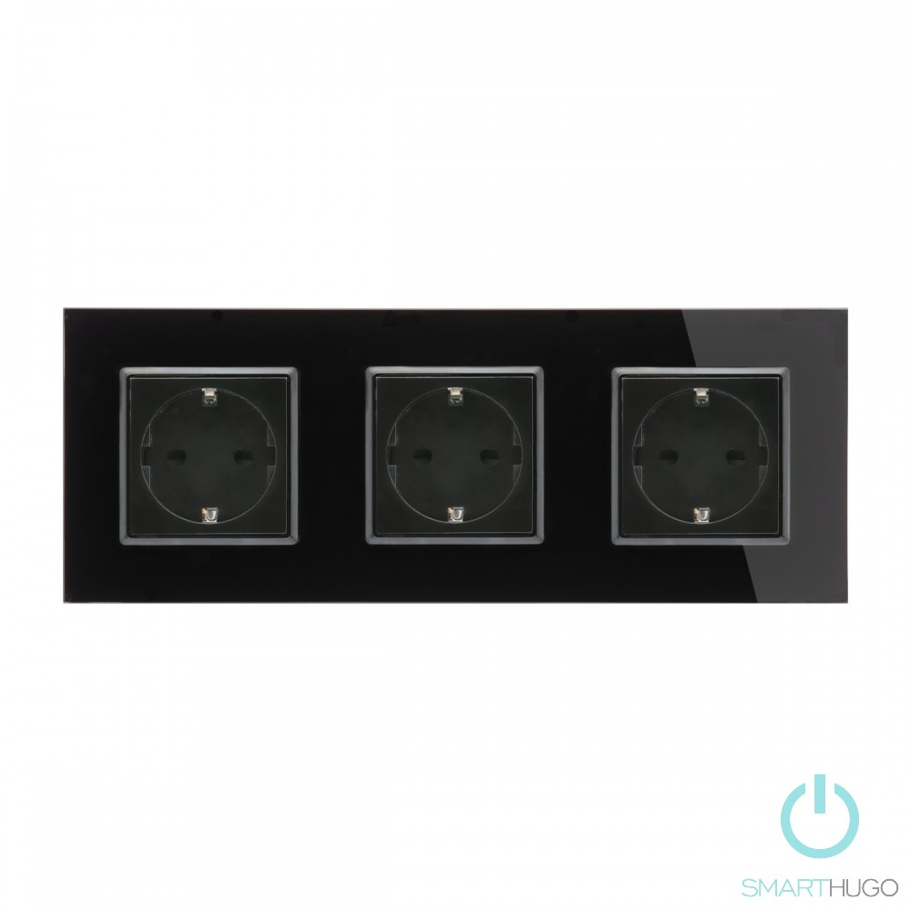 Hármas Sorolt Fekete Üvegkeretes Konnektor