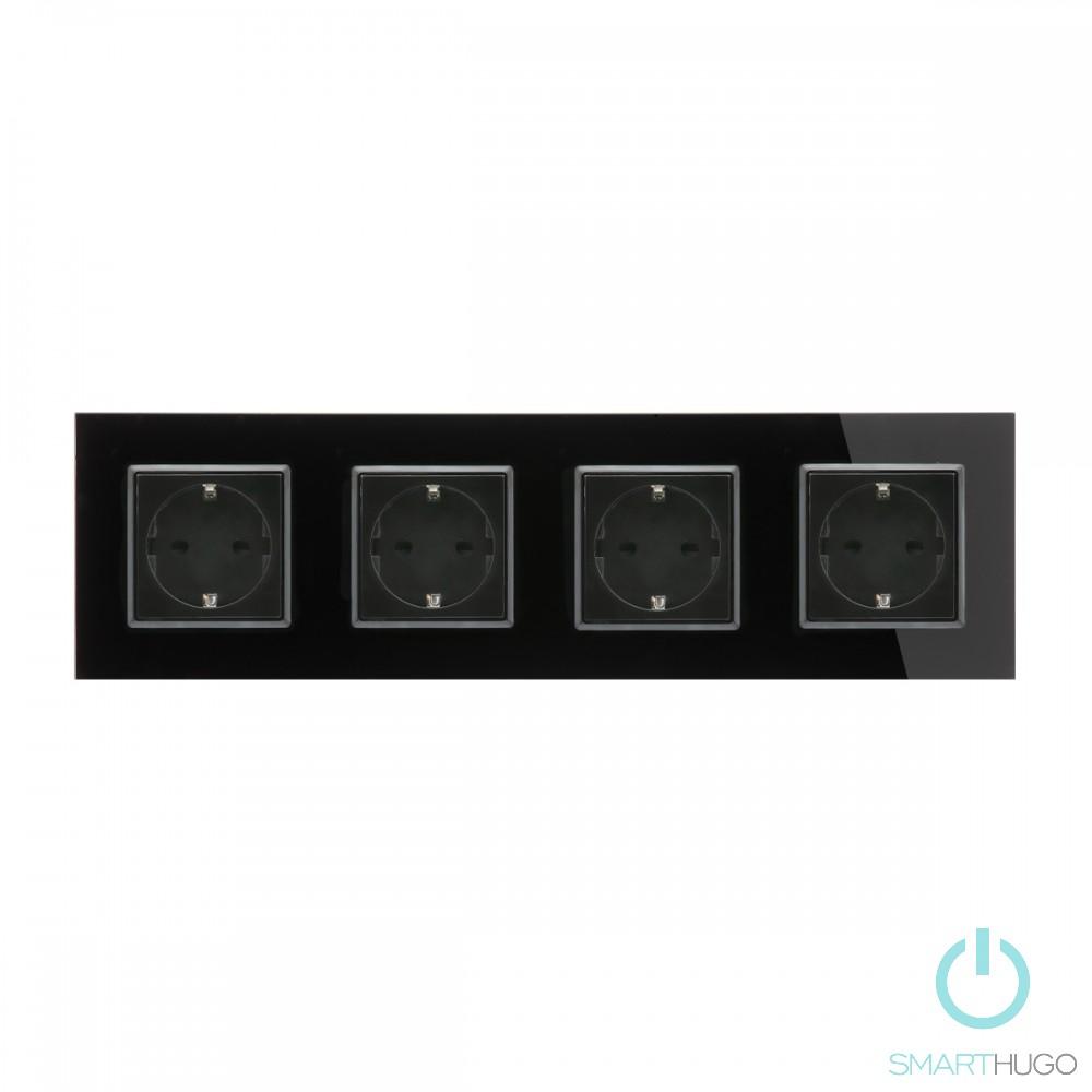 Négyes Sorolt Fekete Üvegkeretes Konnektor